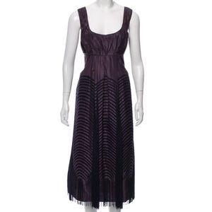 Vera Wang Purple Fringe Silk Dress